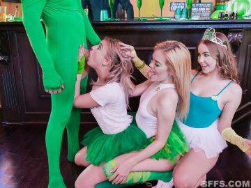 Katie Kush, Naomi Blue and Serena Avery suck one cock