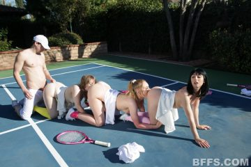 Cleo Clementine, Daisy Stone and Daphne Dare fucked hard on the tennis court